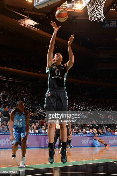 Kiah Stokes of the New York Liberty drives to the basket against the Atlanta Dream on May 24 2016 at Madison Square Garden in New York City New York...