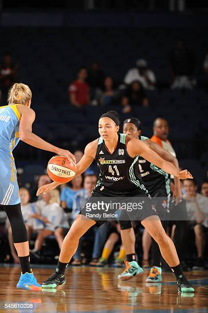 Kiah Stokes of the New York Liberty fights for position against the Chicago Sky on July 8 2016 at the Allstate Arena in Rosemont Illinois NOTE TO...