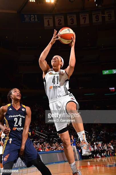 Kiah Stokes of the New York Liberty goes up for the layup against the Indiana Fever during game Three of the WNBA Eastern Conference Finals at...