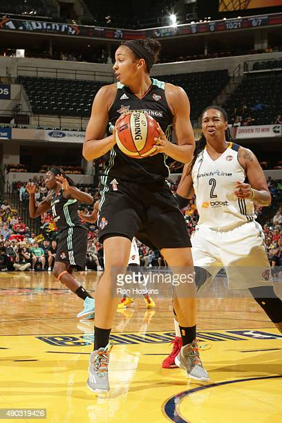 Kiah Stokes of the New York Liberty grabs the rebound against the Indiana Fever in game two of the WNBA Eastern Conference Finals at Bankers Life...