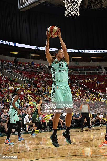 Kiah Stokes of the New York Liberty grabs the rebound against the Seattle Storm on June 5 2016 at KeyArena in Seattle Washington NOTE TO USER User...