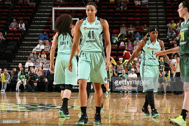 Kiah Stokes of the New York Liberty is seen against the Seattle Storm on June 5 2016 at KeyArena in Seattle Washington NOTE TO USER User expressly...