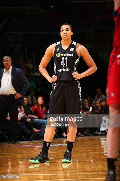 Kiah Stokes of the New York Liberty is seen during the game against the Washington Mystics on May 14 2016 at Verizon Center in Washington DC NOTE TO...