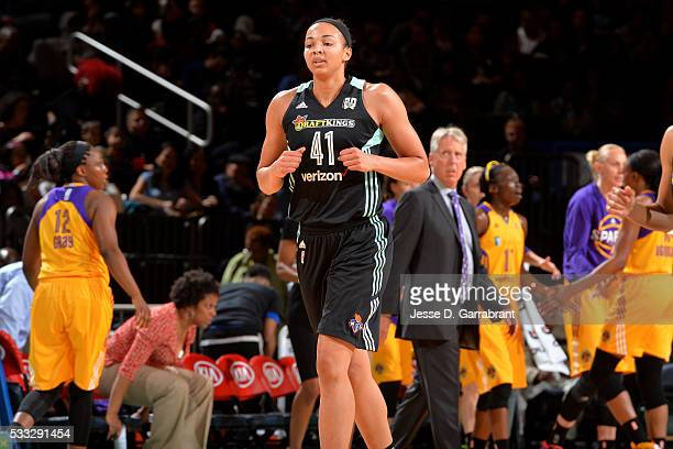 Kiah Stokes of the New York Liberty looks on during the game against the Los Angeles Sparks on May 21 2016 at Madison Square Garden in New York City...