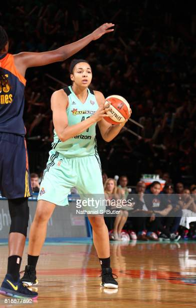 Kiah Stokes of the New York Liberty passes the ball against the Connecticut Sun on July 19 2017 at Madison Square Garden in New York New York NOTE TO...