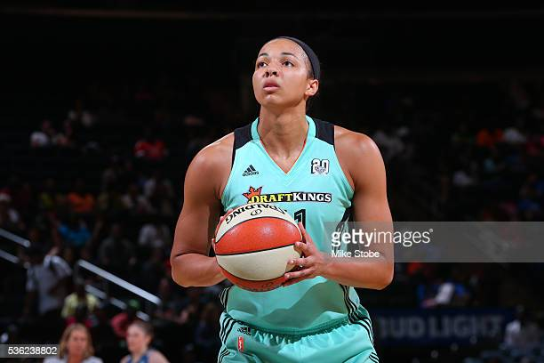 Kiah Stokes of the New York Liberty prepares to shoot against the Minnesota Lynx during the game on May 31 2016 at Madison Square Garden in New York...