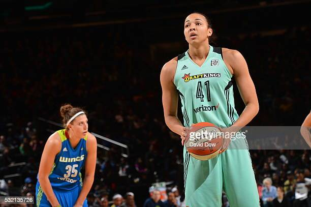 Kiah Stokes of the New York Liberty shoots a free throw against the Dallas Wings on May 15 2016 at the Madison Square Garden in New York City New...