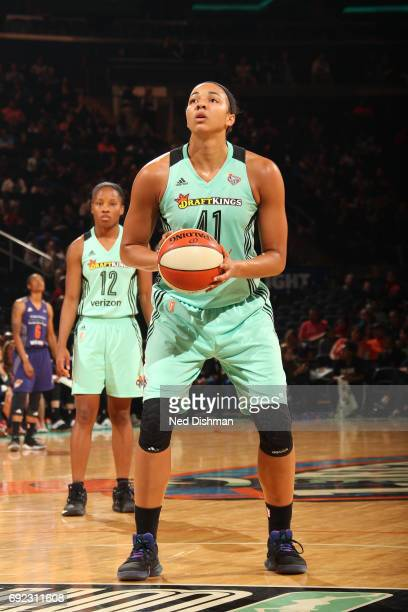 Kiah Stokes of the New York Liberty shoots a free throw against the Phoenix Mercury on June 4 2017 at Madison Square Garden in New York New York NOTE...
