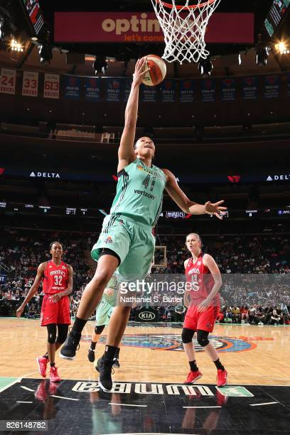 Kiah Stokes of the New York Liberty shoots a lay up during the game against the Washington Mystics on July 16 2017 at Madison Square Garden in New...