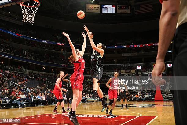 Kiah Stokes of the New York Liberty shoots the ball against the Washington Mystics on May 14 2016 at Verizon Center in Washington DC NOTE TO USER...