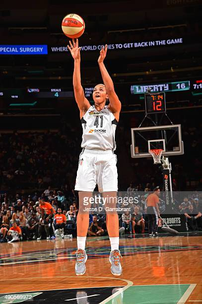 Kiah Stokes of the New York Liberty shoots the ball against the Indiana Fever during game Three of the WNBA Eastern Conference Finals at Madison...