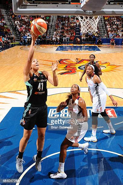 Kiah Stokes of the New York Liberty shoots the ball against the Connecticut Sun at the Mohegan Sun Arena on August 14 2015 in Uncasville Connecticut...