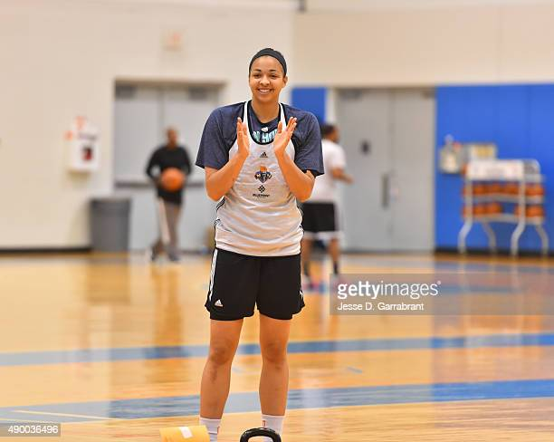Kiah Stokes of the New York Liberty smiles during practice at the New York Knicks training facility on September 25 2015 in Tarrytown New York NOTE...