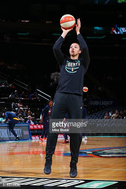 Kiah Stokes of the New York Liberty warms up before the game against the Indiana Fever on July 21 2016 at Madison Square Garden in New York New York...