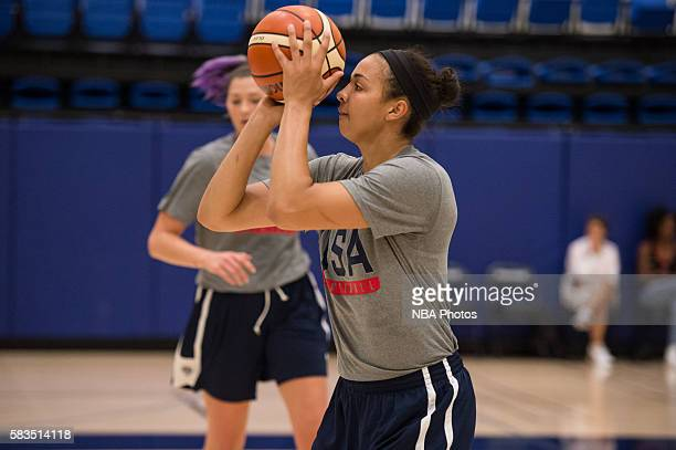 Kiah Stokes of the USA Womens Select Team shoots the ball at practice at Windward High School in Los Angeles California on July 23 2016 NOTE TO USER...