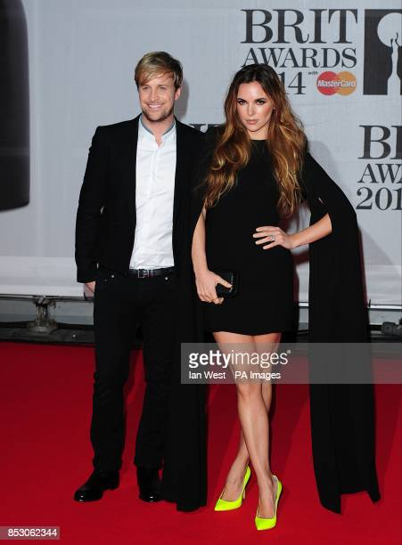 Kian Egan and Jodi Albert arriving for the 2014 Brit Awards at the O2 Arena London