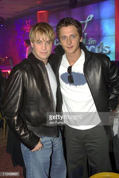 Kian Egan from Westlife and Ritchie from Five during 2001 Capital FM Radio Awards at The Royal Lancaster Hotel in London Great Britain