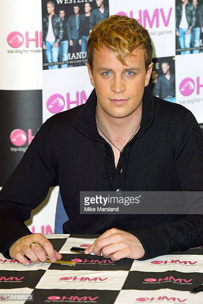 Kian Egan from Westlife during Westlife Signing Copies Of Their New Single Mandy at HMV Trocadero Piccadilly Circus in London Great Britain