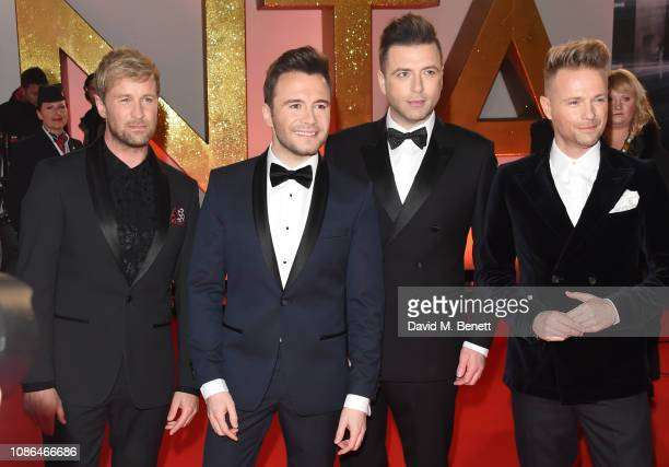 Kian Egan, Shane Filan, Mark Feehily and Nicky Byrne of Westlife attend the National Television Awards held at The O2 Arena on January 22, 2019 in...