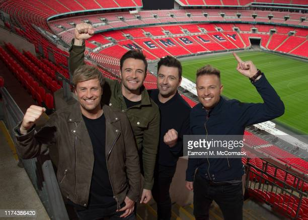 Kian Egan Shane Filan Mark Feehily and Nicky Byrne of Westlife announce first every show at Wembley Stadium on September 12 2019 in London England