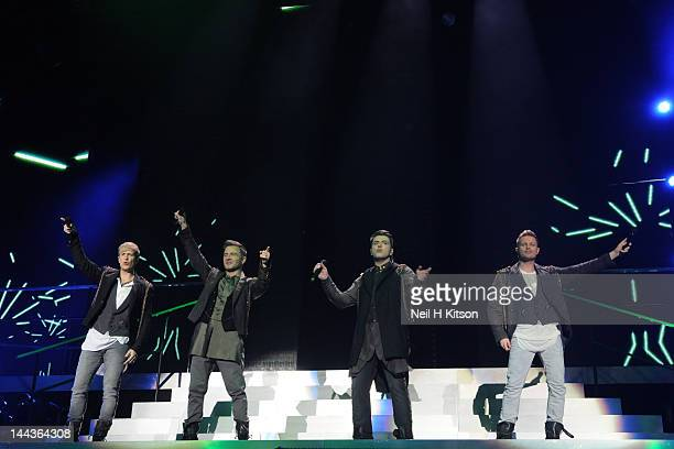 Kian Egan Shane Filan Mark Feehily and Nicky Byrne of Westlife performs on stage at Motorpoint Arena on May 13 2012 in Sheffield United Kingdom