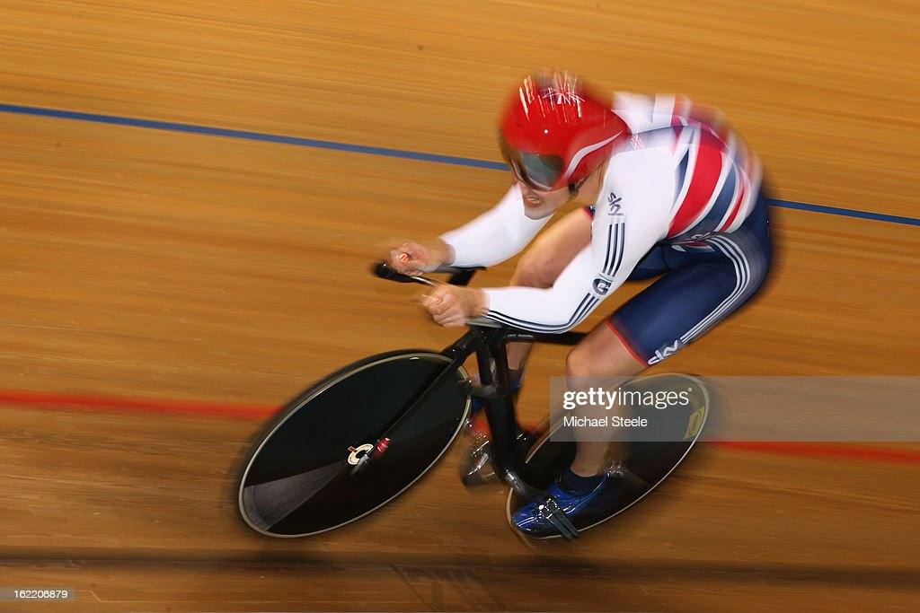 Kian Emadi of Great Britain on his way to fourth position in the men's 1km final during day one of the UCI Track World Championships at Minsk Arena on February 20, 2013 in Minsk, Belarus.