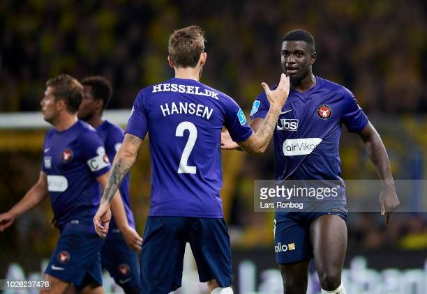 Kian Hansen and Mayron George of FC Midtjylland celebrate after scoring their first goal during the Danish Superliga match between Brondby IF and FC...