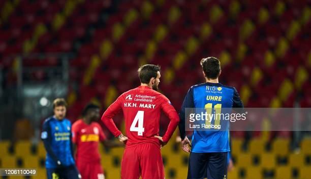 Kian Hansen of FC Nordsjalland and Mikael Uhre of Brondby IF talking after the the Danish 3F Superliga match between FC Nordsjalland and Brondby IF...