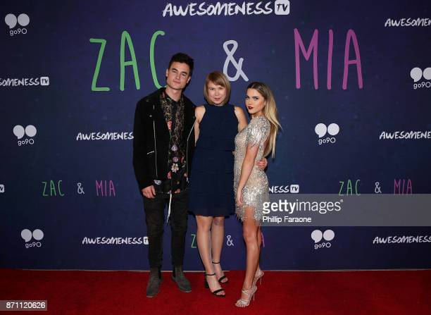 Kian Lawley Aj Betts and Anne Winters attend the 'Zac Mia' premiere event at Awesomeness HQ on November 6 2017 in Los Angeles California