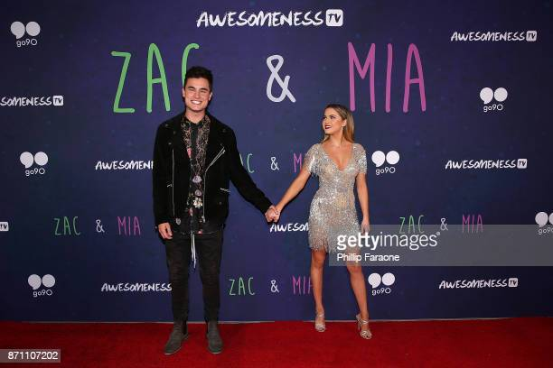 Kian Lawley and Anne Winters attend the 'Zac Mia' premiere event at Awesomeness HQ on November 6 2017 in Los Angeles California