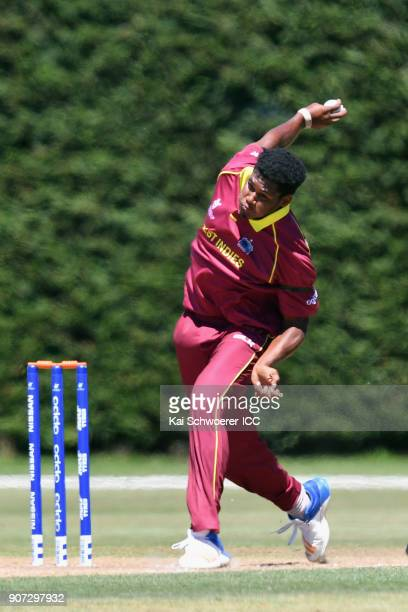 Kian Pemberton of the West Indies bowls during the ICC U19 Cricket World Cup match between the West Indies and Kenya at Lincoln Oval on January 20...