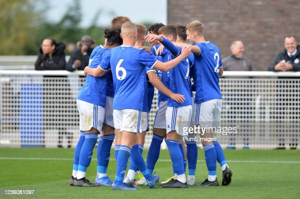 Kian Pennant of Leicester City celebrates scoring the opening goal for Leicester City during the Leicester City v Arsenal: U18 Premier League match...