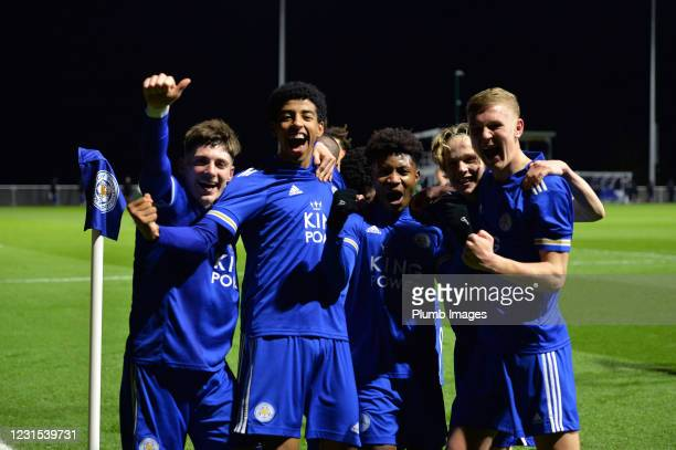 Kian Pennant of Leicester City celebrates scoring the second goal for Leicester City with team mates during Leicester City v Sheffield Wednesday: FA...