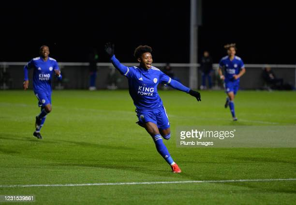 Kian Pennant of Leicester City celebrates scoring the second goal for Leicester City during Leicester City v Sheffield Wednesday: FA Youth Cup at...
