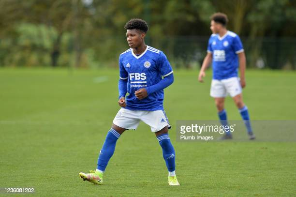 Kian Pennant of Leicester City during the Leicester City v Arsenal: U18 Premier League match at Seagrave on October 23, 2021 in Seagrave, United...