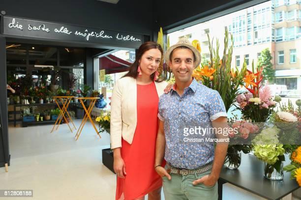 Kian ShamsDolatabadi and business partner Anne Steiner attend the 'Kians Garden Flower Shop' Opening Event at Kantstrasse on July 11 2017 in Berlin...