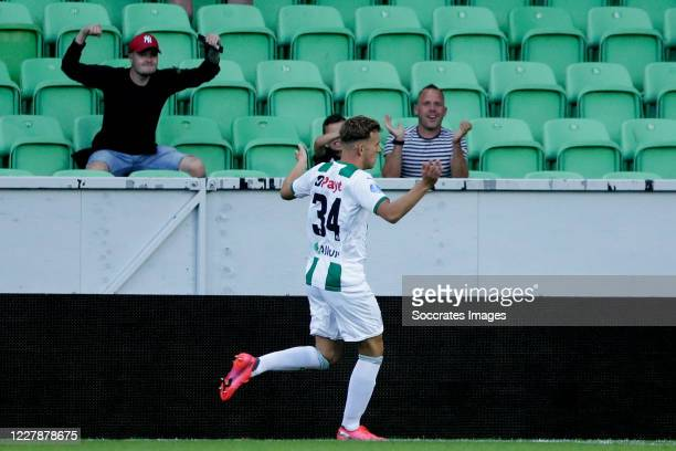Kian Slor of FC Groningen celebrates 10 during the Club Friendly match between FC Groningen v Heracles Almelo at the Hitachi Capital Mobility Stadion...