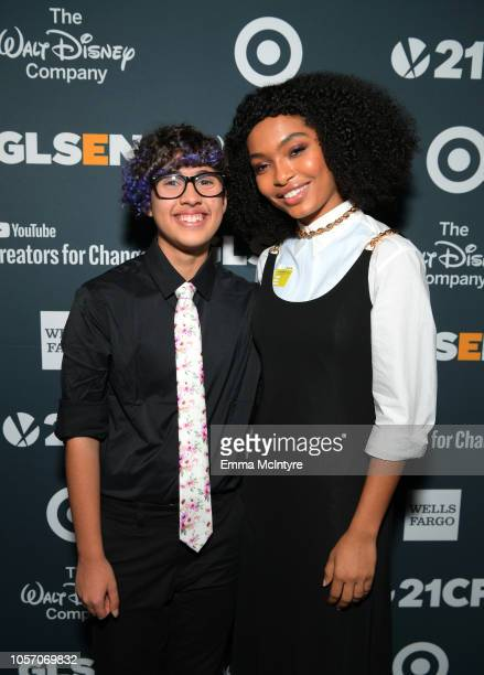 Kian TortorelloAllen and Yara Shahidi attend the GLSEN Respect Awards at the Beverly Wilshire Four Seasons Hotel on October 19 2018 in Beverly Hills...