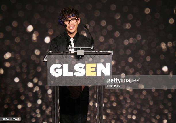 Kian TortorelloAllen speaks onstage at the GLSEN Respect Awards at the Beverly Wilshire Four Seasons Hotel on October 19 2018 in Beverly Hills...