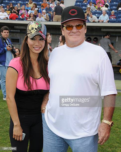 Kiana Kim and Pete Rose at the Steve Garvey Celebrity Softball Game for ALS Research at Pepperdine University's Eddy D Field Stadium on July 10 2010...