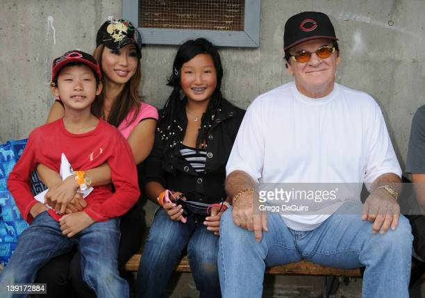 Kiana Kim Ashton Lee Cassandra Lee and Pete Rose at the Steve Garvey Celebrity Softball Game for ALS Research at Pepperdine University's Eddy D Field...