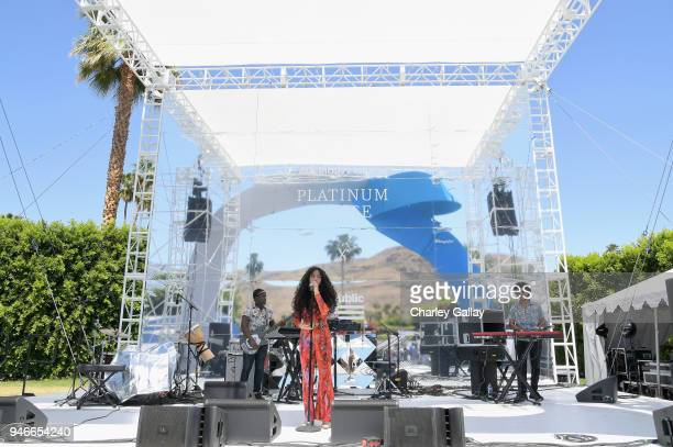 Kiana Lede performs at the American Express Platinum House at Parker Palm Springs on April 14 2018 in Palm Springs California