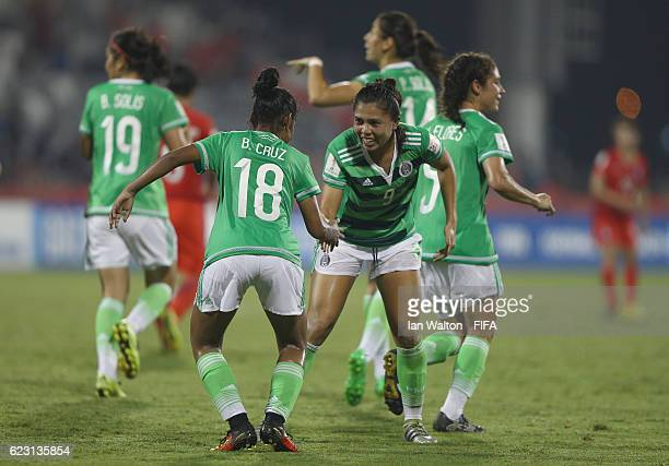 Kiana Palacios of Mexico celebrates scoring a goal during the FIFA U20 Women's World Cup Group D match between Mexico and Korea Republic at National...