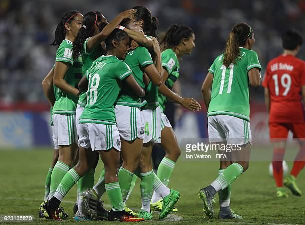 Kiana Palacios of Mexico celebrates scoring a goal during the FIFA U20 Women's World Cup Group D match between Mexico and Korea Republic at National...