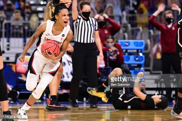 Kiana Williams of the Stanford Cardinal celebrates as time runs off the clock in their game against the South Carolina Gamecocks during the...