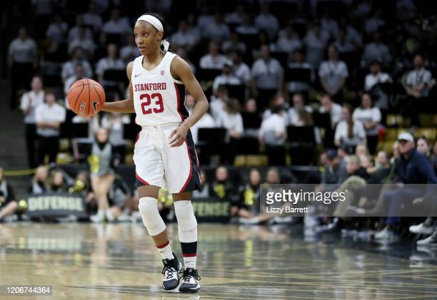Kiana Williams of the Stanford Cardinal dribbles down court during the second quarter of a game between the Stanford Cardinal and the Colorado...