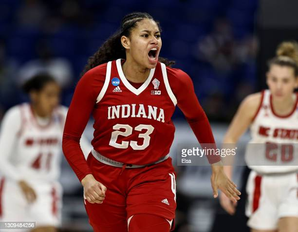 Kiandra Browne of the Indiana Hoosiers reacts after she scored in the first half against the NC State Wolfpack during the Sweet Sixteen round of the...