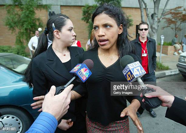 Kiani Wesson talks to the media in front of Fresno Superior Court after her father Marcus Wesson was arraigned for the slayings of nine of his family...