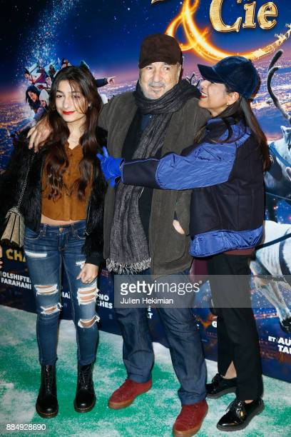 Kiara Carriere her Father JeanClaude Carriere and her Mother Nahal Tajadod attend Santa Cie Paris Premiere at Cinema Pathe Beaugrenelle on December 3...