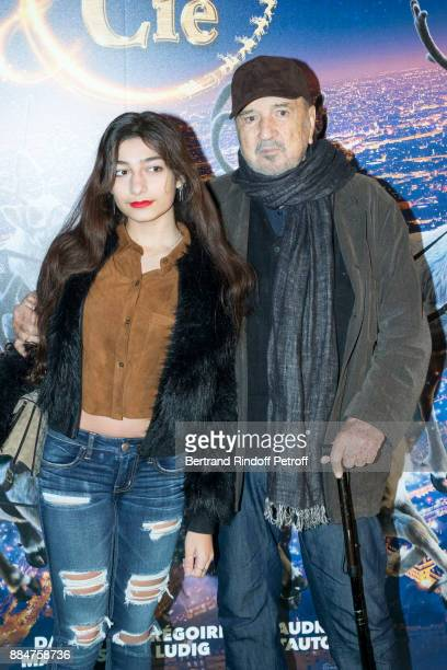 Kiara Carriere her Father JeanClaude Carriere attend Santa Cie Paris Premiere at Cinema Pathe Beaugrenelle on December 3 2017 in Paris France
